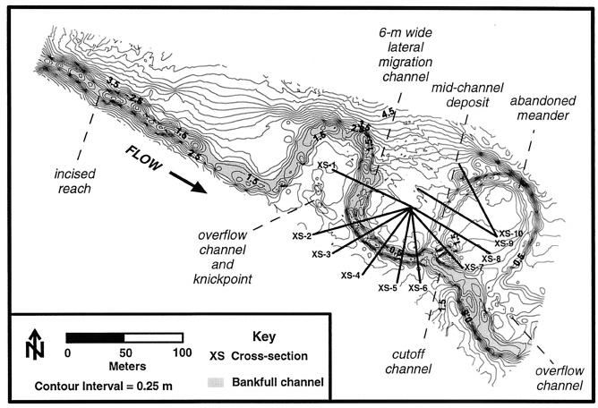 Channel topography showing meander geometry, cross