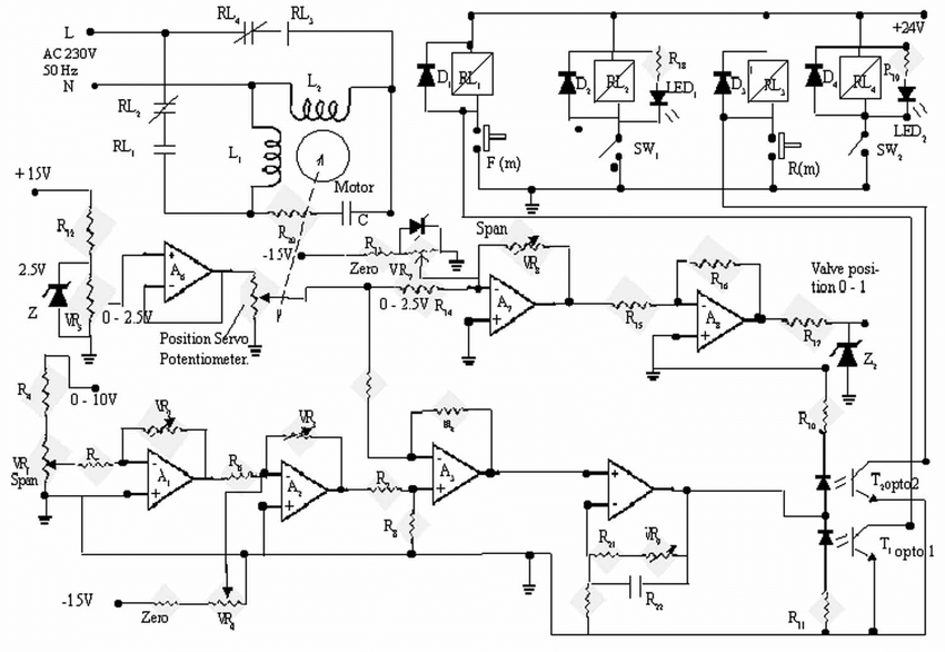The circuit diagram of analogue position control system of