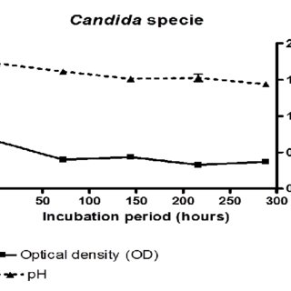 Diesel-dependent growth (OD) and pH fluxes of Penicillium