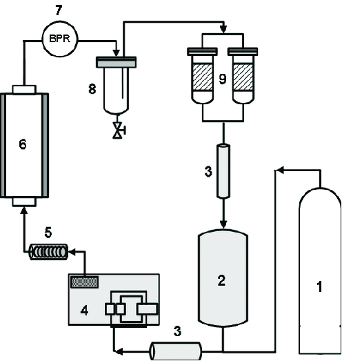 Schematic diagram of supercritical CO2 extraction system
