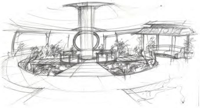 Sketch of feng shui garden area After sitting in the aft