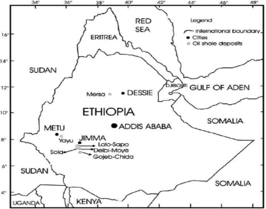Map of the locations of oil shale deposits in Ethiopia