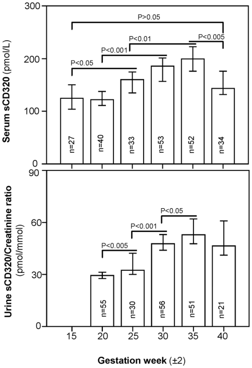 small resolution of scd320 in serum and urine during pregnancy samples from 21 55 women were analyzed
