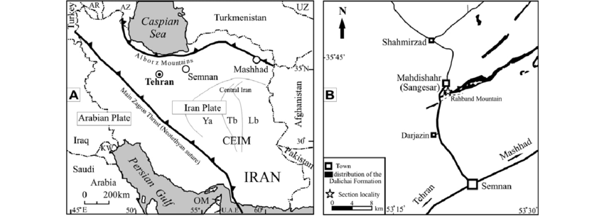 (A) Structure and geographic framework of Iran showing the