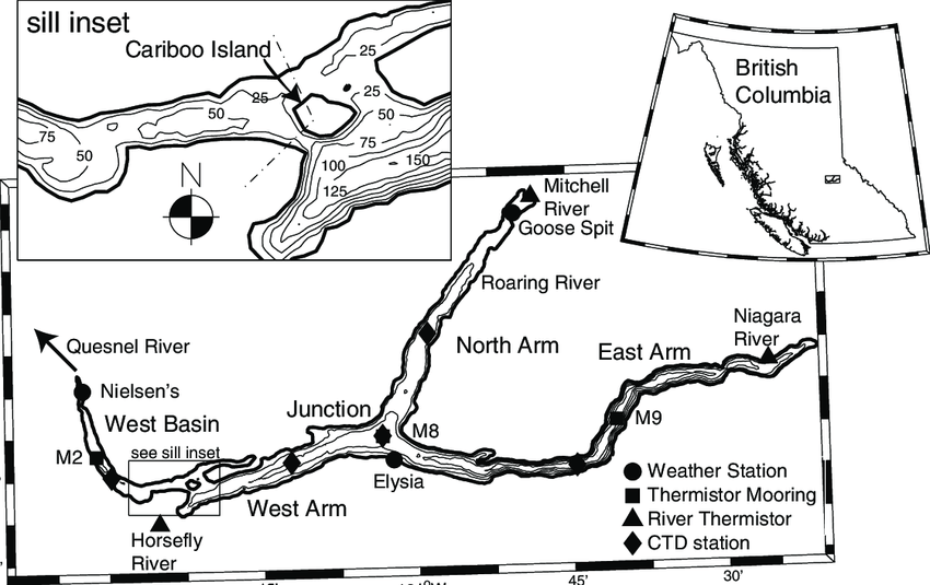 Map of Quesnel Lake with inset showing its location within