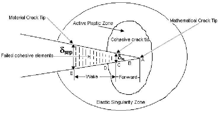 Concept of wake and forward region in the cohesive process