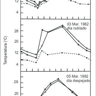 Evolución diaria de la temperatura de las hojas de