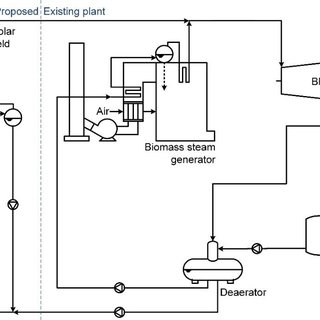 Hybrid cogeneration power plant layout with biomass steam