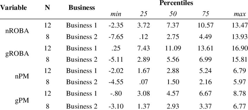 Businesses: descriptive statistics of performance measures