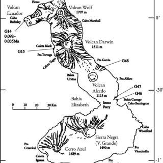 Map of Isla Floreana, showing Cox's paleomagnetic sampling