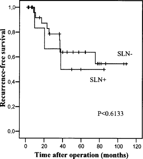 small resolution of recurrence free survival plot according to kaplan meier sln sentinel lymph node