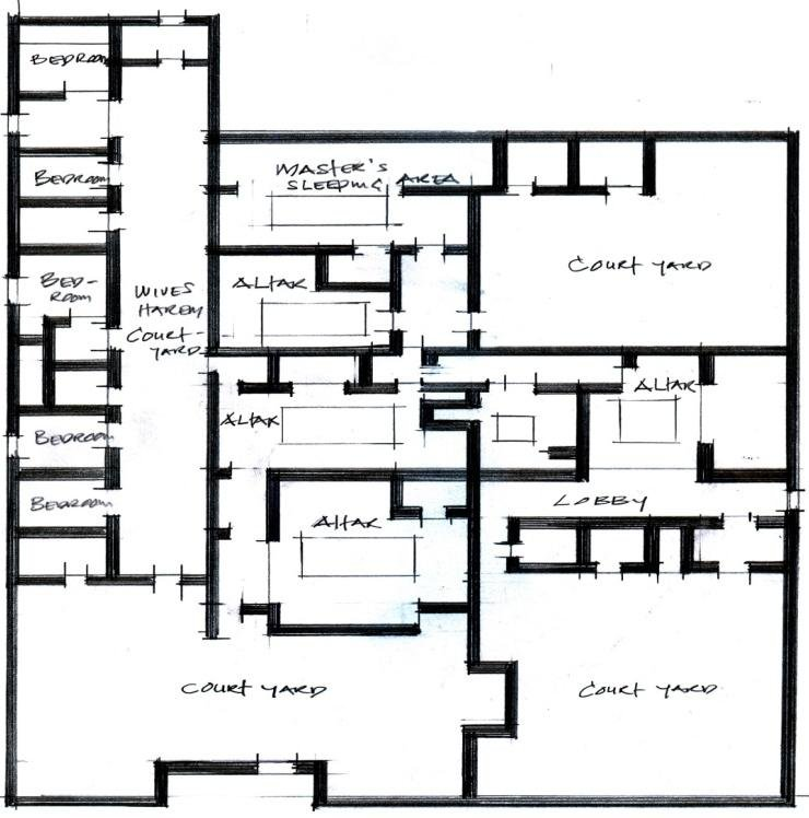 Floor Plan and Picture of a Typical Palace-Compound Benin