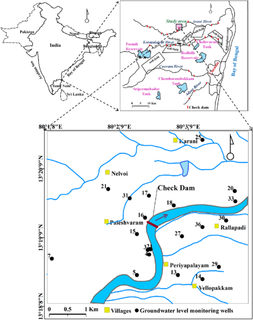 small resolution of study area with location of check dam and monitoring wells