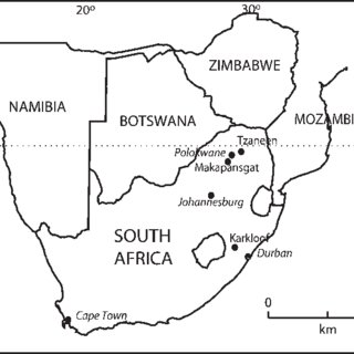 Map of South Africa and neighbouring countries, showing