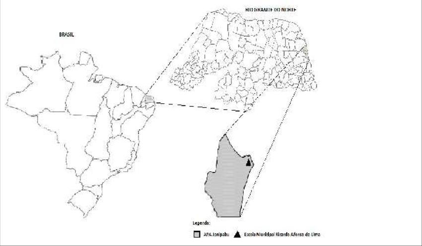 Mapa de localização da APA Jenipabu e Escola Municipal