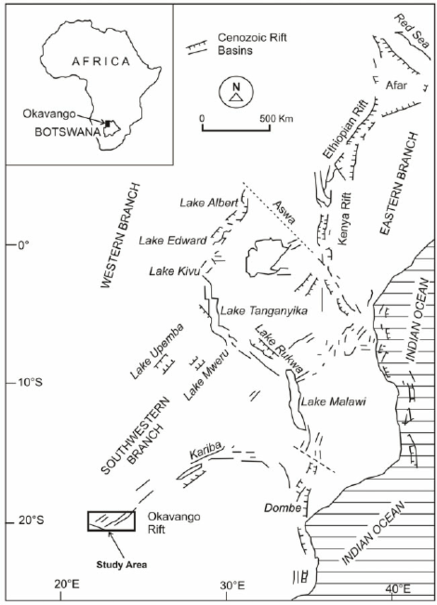 Map of East African Rift System showing the Eastern and
