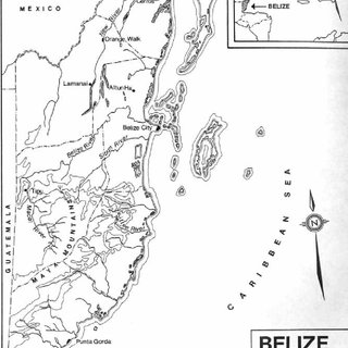 Map of Belize showing the locations of Tipu and Lamanai