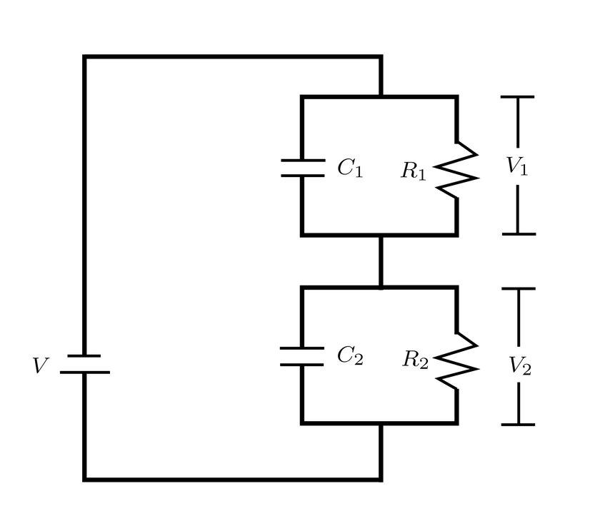 Circuit diagram: the capacitor C2, resistor R2 and voltage