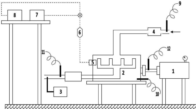 Experimental rig (1–hydrokinetic dynamometer, 2–engine, 3