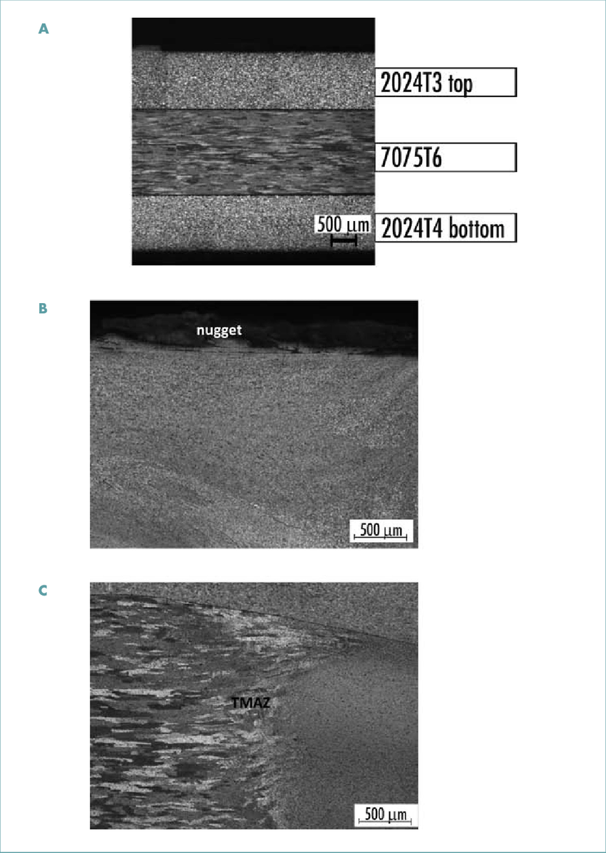hight resolution of polarized light microscopy of double lap fsw joint a base materials of 2024t3 top