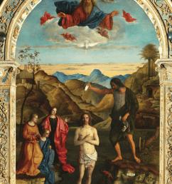 giovanni bellini baptism of christ 1500 1502 oil on wood  [ 850 x 1157 Pixel ]