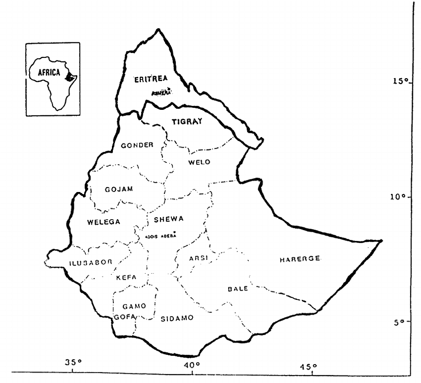 Map of Ethiopia and Eritrea showing regions from which the