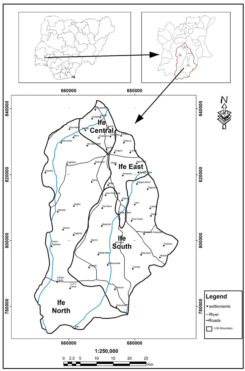 Map of the Study Area. 1a: Map of Nigeria showing Osun