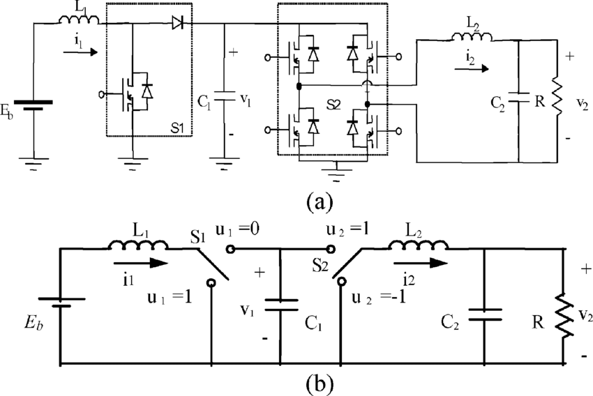 (a) Cascade connection of a boost converter with a full