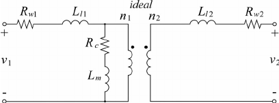 Equivalent circuit model of the transformer referred at