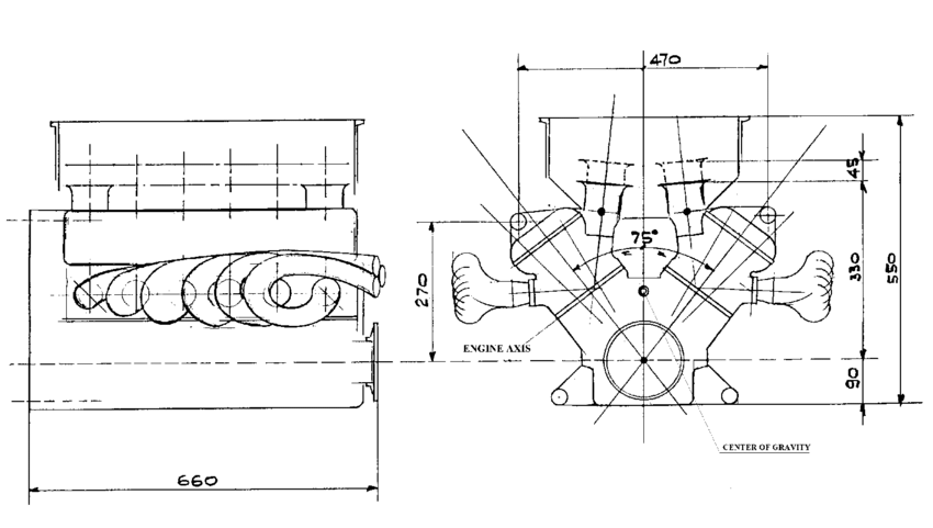 Lay-out of a traditional V12 engine. The engine is