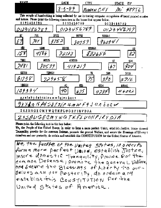 Handwriting sample from for NIST SD19 (a) Handwritten