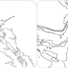 Isobathymetric lines before (left) and after manual
