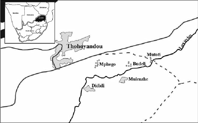 Map of South Africa and villages in Venda (Budeli, Dididi