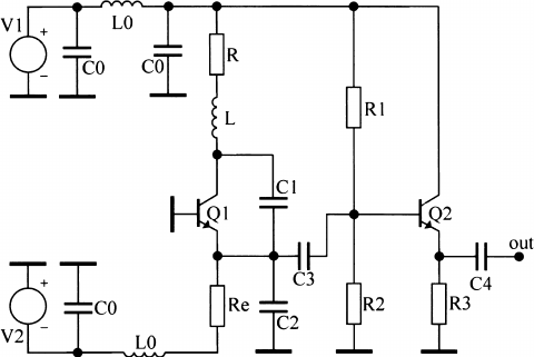 Circuit diagram of the chaotic Colpitts oscillator