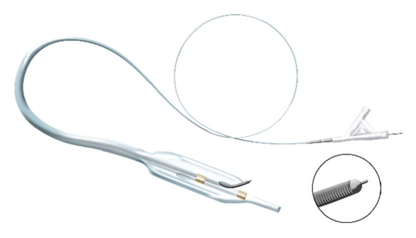 The CrossBoss and Stingray catheters. (a) The CrossBoss