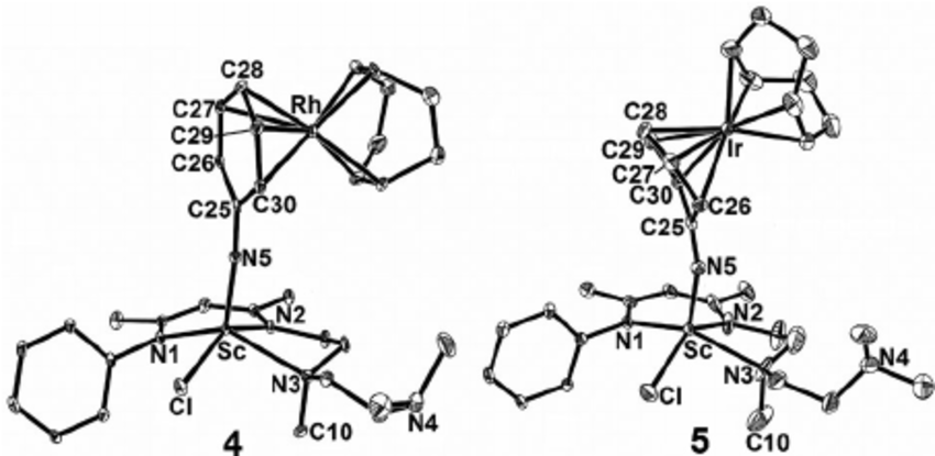 Molecular structures of 4 and 5 with ellipsoids set at 30%