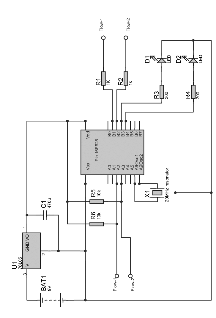 Outline of the circuit board. Upper left, power supply