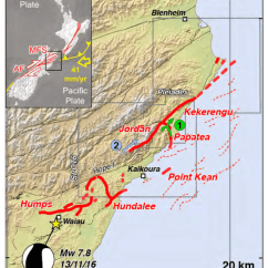 Earthquake Diagram With Labels Nes Controller Wiring Map Of Kaikoura Surface Ruptures 10 Footprint Satellite Images In Grey