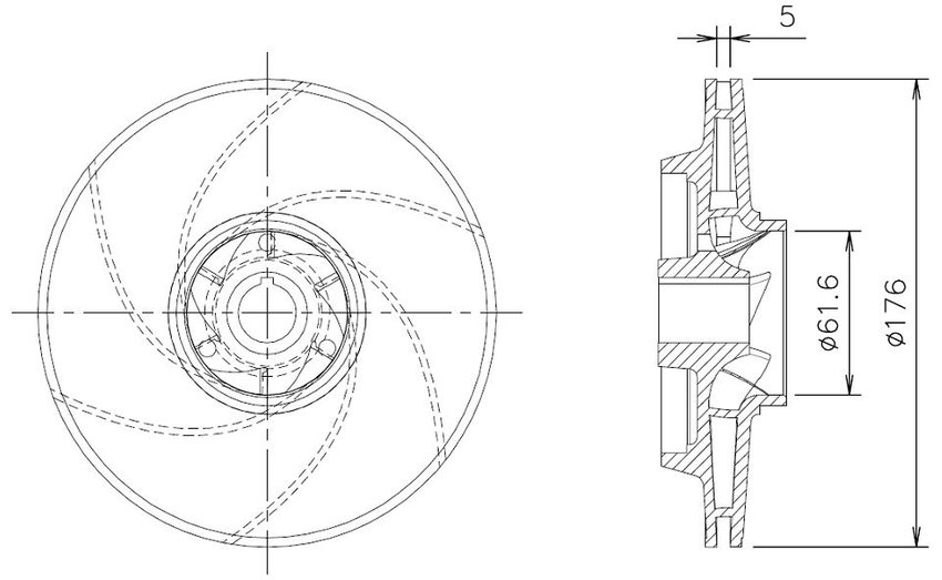Drawing of the enclosed impeller showing the main