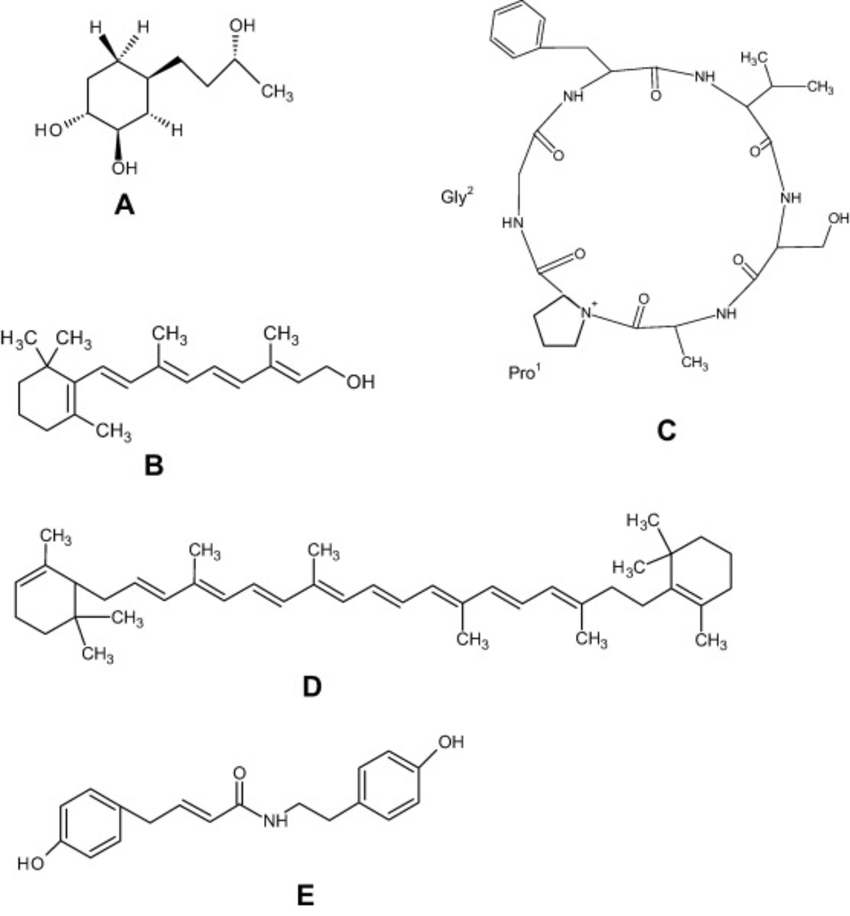 Chemical structure of some compounds present in A