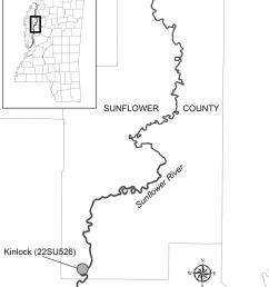 location of the kinlock site 22su526 sunflower county ms  [ 850 x 1054 Pixel ]