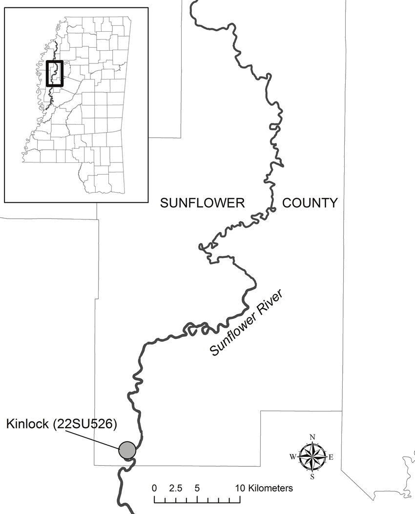medium resolution of location of the kinlock site 22su526 sunflower county ms