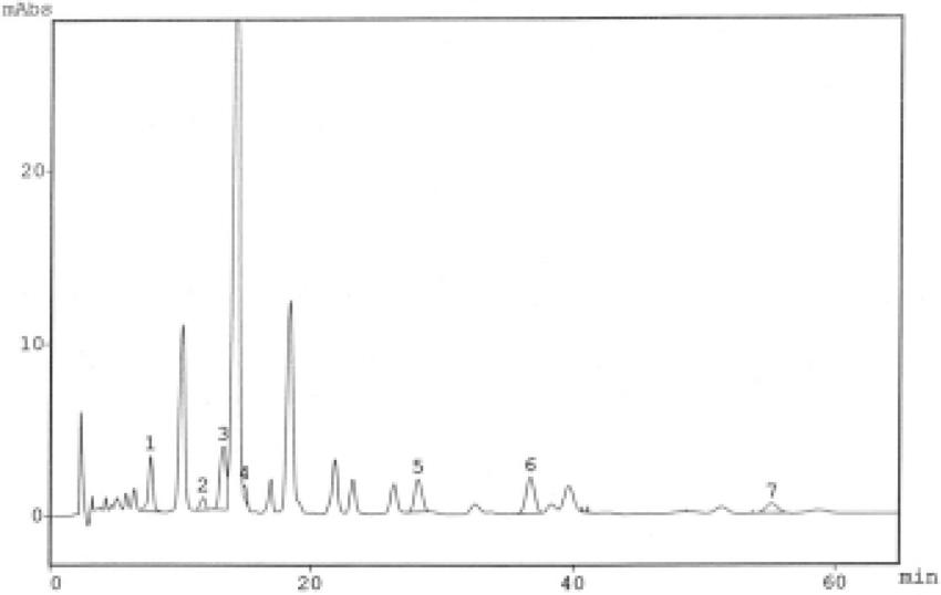 Typical chromatogram (HPLC) of phenolic acids released