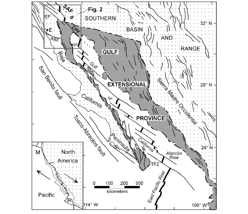 Tectonic map of the Gulf of California and adjacent