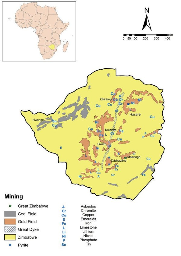 Map showing some of the minerals of Zimbabwe and the