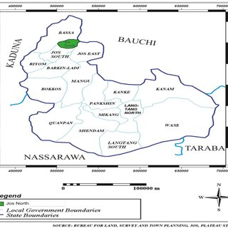 Map of Plateau State showing Jos North Local Government