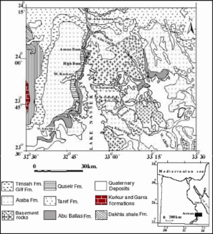 Lithostratigraphic map of the study area showing the