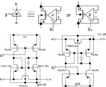 Symbols (top) and electrical schematic for the active