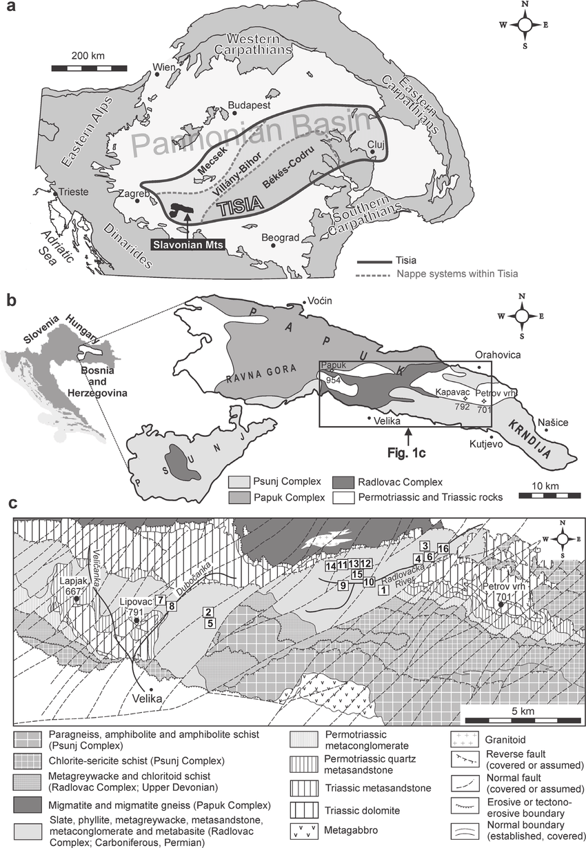 hight resolution of a tectonic setting of the tisia unit within the alpine carpathian dinaric framework with the position of the slavonian mts and b sketch map of slavonian mts