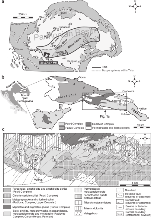 small resolution of a tectonic setting of the tisia unit within the alpine carpathian dinaric framework with the position of the slavonian mts and b sketch map of slavonian mts